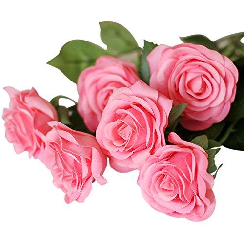 Künstliche Rose,Real Touch Silk Latexblume künstliche Rose Blumen Kunstblumen Dekoration Blumenstrauß DIY Rosen für Blumenarrangement für Valentinstag Geburtstag Weihnachtsgeschenk (Pink) (Pink Silk Rosen)