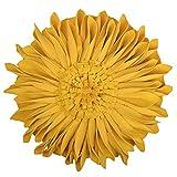 JWH 3D Sunflower Wolle Kissen Hochzeit Deko Home Stuhl Überwurf Kissen Kaffee Auto Sofa Accent Kissen, Yellow Velvet, 14 Inch/35 cm