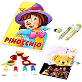 #10: Coi Combo Fancy Pinocchio Story Book, Lock Diary, Kitchen Set Eraser and Injection Pen Pencil, Capsule Style Erasers for Kids.