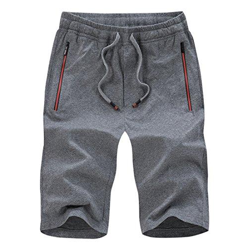 Sidiou group pantaloncini sportivi uomo pantaloncini cotone sport vita elastica pantaloncini da corsa pantaloni da allenamento pantaloncini da fitness pantaloncini casual da uomo (grigio scuro, l)