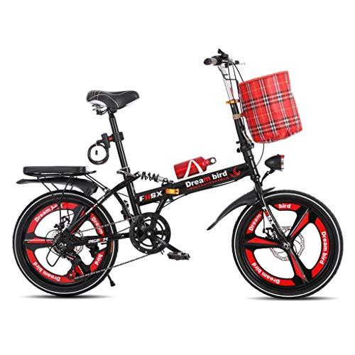 Klappräder Fahrrad-faltende Verschiebende Scheibenbremsen 20-Zoll-Dämpfung Unisex Ultralight Portable Faltrad (Color : Red, Size : 150 * 35 * 100cm)
