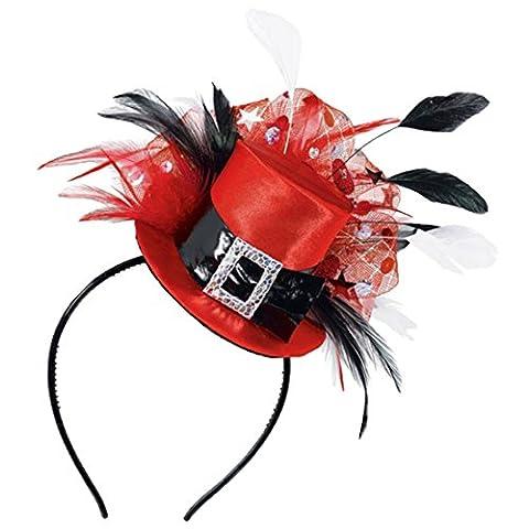 erdbeerclown - Hut Kostüm Silvester Federn , Rot (Deutschen Offizier Hut Kostüm)