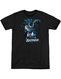 Justice League - Mens Batman Blue & Gray Ringer T-Shirt