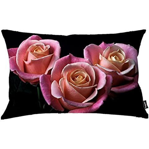 i FaMuRay Almohada Decorativa Sof¨¢ Standard, 20x26 Inch, Pink Rose Petals Covering the Orange