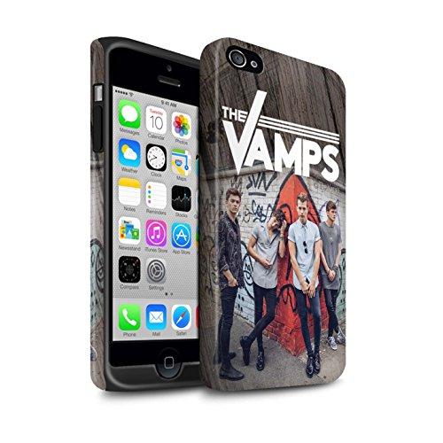 Officiel The Vamps Coque / Matte Robuste Antichoc Etui pour Apple iPhone 4/4S / Pack 6pcs Design / The Vamps Séance Photo Collection Effet Bois