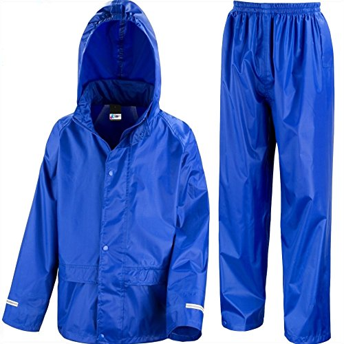 Kids Waterproof Jacket & Trousers Suit In Black, Pink, Red or Royal Blue Childs Childrens Boys Girls (5-6 Years, Royal Blue)