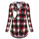 Beikoard Frauen Stillen T-Shirt Stillen Pullover Mutterschaft Plaid TTops Bluse Kleidung Still Karohemd