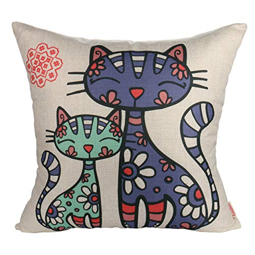 Luxbon Durable Linen Pillow Cushion Cover Cats in Flowers Decoration for Car Bed Sofa 18x18 45x45 cm
