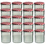 20 Sturzgläser 350 ml Marmeladengläser Einmachgläser Einweckgläser To 82 Rot Kariert