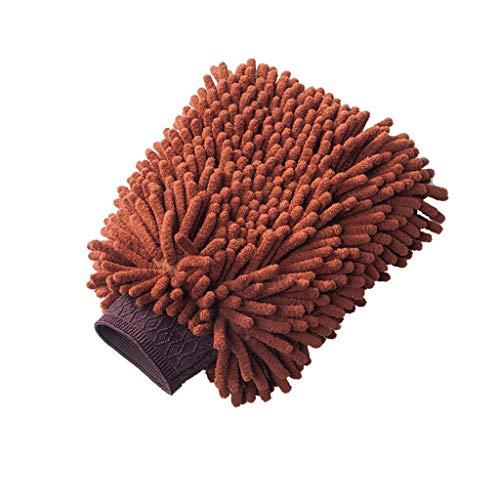 Duzhengzhou Chenille Mikrofaser Premium Kratzfest Wash Mitt, Blau, Rot, Grün, Braun, Lila, 4 Farben zur Auswahl (Color : Brown) Blau Mitt