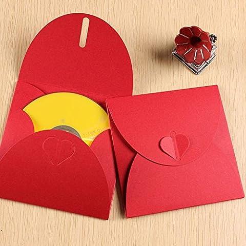 50 bolsas de regalo, diseño de corazón sobre Funda para CD y DVD papel 300gr color rojo