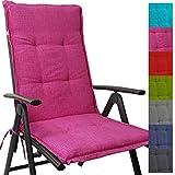 PROHEIM Hochlehner Auflage Outdoor 118 x 50 x 5,5 cm Schmutz- und wasserabweisendes Sitzkissen & Rückenkissen bequem gepolsterte Gartenstuhlauflage mit Gummiband, Farbe:Pink