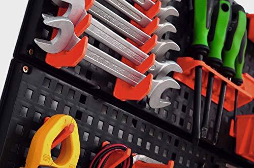 Werkzeugwand mit 19 teiligem Werkzeugbefestigungsset, Länge 80 cm x Breite 48 cm – beliebig erweiterbar - 5