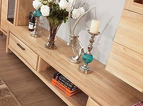 Media Support TV Meuble console en bois pour écrans plats en bois massif avec 2tiroirs, Orme, Style Moderne, Couleur Naturelle