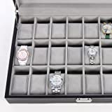 Songmics-JWB024-Caja-para-24-de-relojes-con-tapa-de-vidrio-color-negro-y-gris