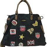 Fashion&DU PATCHES STERN Handtasche Schultertasche bag Umhängetasche Tragetasche US star groß (Schwarz)