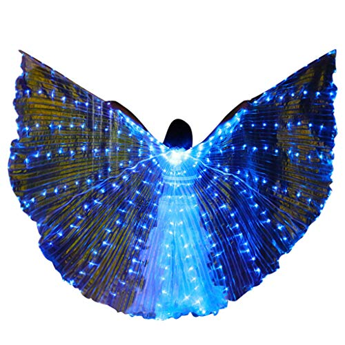 Isis Wings Bauchtanz Dasongff, Belly Dance LED Glowing Wings Isis Wings Women es Performance Polyester Tube Wings Dance Accessoires Schwarz Belly Dance