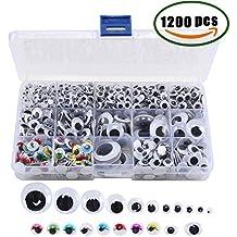 ManYee 1200 unids ojos adhesivos Plástico DIY Etiqueta de Plástico Accesorios de Juguete Ojos de Color Artesanías Actividad Adecuado DIY Scrapbooking Juguetes Accesorios