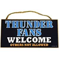 """Oklahoma City Thunder Fans Wood Sign - 5""""x10"""" Welcome"""