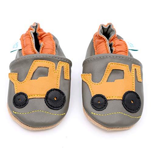Dotty Fish weiche Leder Babyschuhe mit rutschfesten Wildledersohlen. 3-4 Jahre (27 EU). Grauer Schuh mit gelbem Baggerentwurf für Jungen. Kleinkind Schuhe.