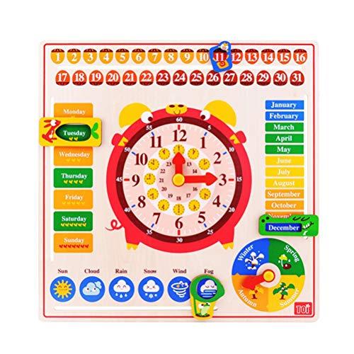lender Uhr Spielzeug Unterricht Uhr Wetter Saison Hängen Bord Holz Früherziehung Puzzle Lernen Spielzeug für Kinder ()
