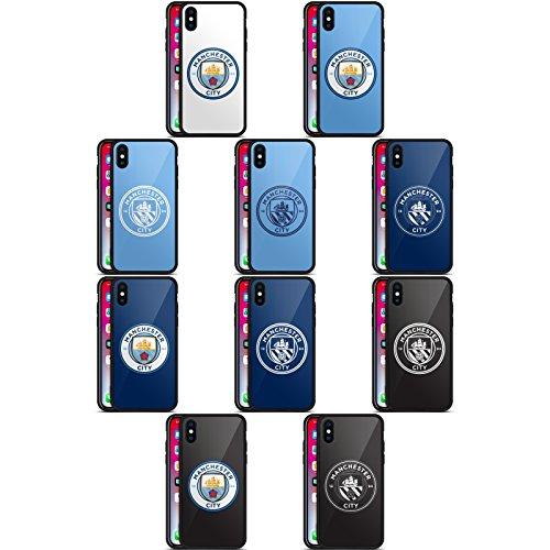 Head Case Designs Officiel Manchester City Man City FC Badge Noir Coque pour Arrière en Verre Hybride pour iPhone Téléphones
