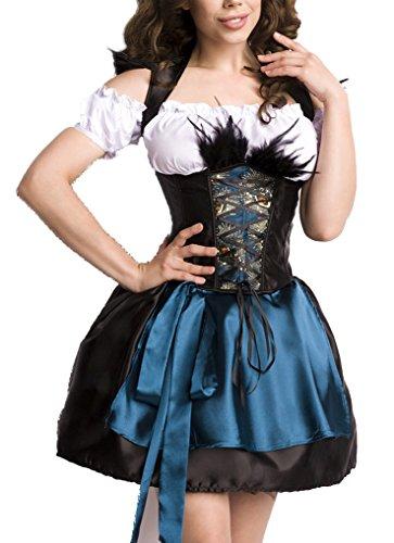 Corsagen Dirndl Kleid Kostüm mit Schürze, Rock und Petticoat Minidirndl mit Pfaumuster und ausgestelltem Rockteil Oktoberfest Dirndl blau/weiß S