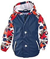 X&F Little Boys Light Reflective Hooded Raincoat Waterproof Jacket Rainwear 4-5 Years, Stars