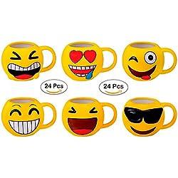 DISOK Lote 24 Tazas Emoticonos - Regalos de Comuniones Niños/Niñas - Tazas Emojis, Emoticonos para Niños, Infantiles, Juveniles. Mugs Desayuno para Regalos y Detalles de Bodas, Bautizos, Comuniones