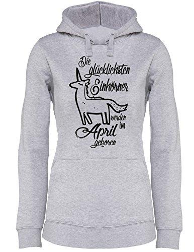 Die Glücklichsten Einhörner werden im April geboren! Perfektes Geschenk zum Geburtstag - Damen Hoodie Grau/Schwarz