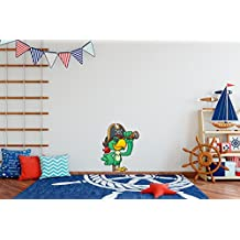 Vinilo decorativo pared Infantil   Loro Pirata   Loro   Catalejo   Pata Palo   Parche en el ojo   Dibujo   Varias Medidas 90x40cm   Adhesivo Resistente y de Facil Aplicación   Multicolor   Pegatina Adhesiva Decorativa de Diseño Elegante  