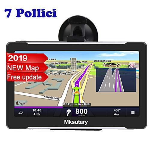 Mksutary GPS per Auto, Schermo di Navigazione, LCD Touch Capacitivo, Memoria RAM da 256 MB, ROM da 8 GB, Mappa GPS di 51 Paesi, Navigatore per Auto e Aggiornamenti Delle Mappe a Vit