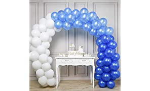 PuTwo Party Balloons 12 Inch 100 Pcs White & Blue Latex Balloons for Party Decorations