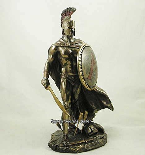 Spartaner-Statuette Leonidas, König von Sparta, bronzierte Deko-Skulptur -