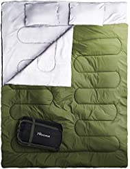 REEHUT Saco de Dormir Plegable, Saco de Acampada Ultraligero Portátil Multifunción, Saco para Dormir Doble con Forma Rectangular con Bolsa de Transporte Y 2 Almohadas Incluidas (Tamaño 220 x 150cm)