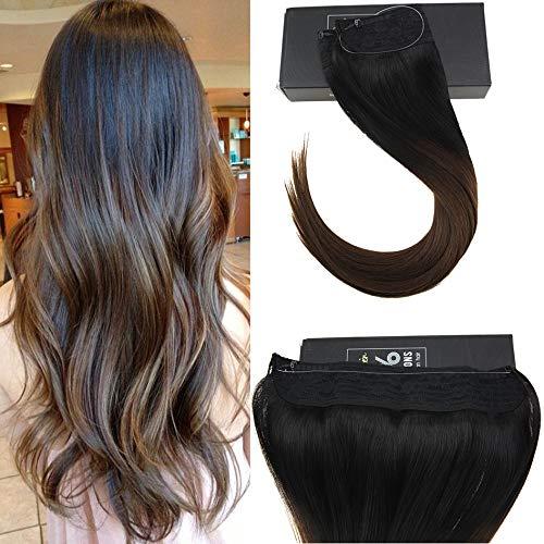 Sunny double weft invisible wire halo estensioni capelli 16 pollice/40cm 80grammo/pack ombre nero naturale al marrone extension capelli filo invisibile