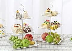 Idea Regalo - UHMei Alzata per torte a 3ripiani, quadrata, in plastica a imitazione di ceramica-Centrotavola per matrimoni, ora del tè, cene e feste di compleanno ( 2 set)