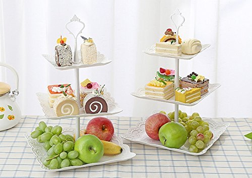 UHMei 3 Tier Plastic imitation ceramics Square Cake Stand - Centerpiece For Weddings, Tea Party, Holiday Dinners, or Birthday Parties (2Sets