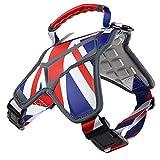 Weetall Hundegeschirr, No-Pull & verstellbares großes Hundegeschirr, UK-Flag-Theme-Hundeweste mit reflektierenden Trägern für große Rassen