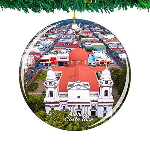 Weekino Costa Rica Kathedrale von Alajuela Weihnachtsverzierung Stadt Reise Souvenir Sammlung Doppelseitig Porzellan 2,85 Zoll Hängende Baumdekoration -