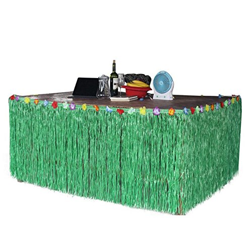 Yalulu 276 * 75CM Vert Jupe de Table hawaïenne Jupe de Bureau pour Noël Hawai Luau Décoration de fête