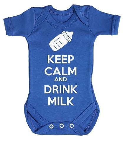 Baby Buddha - Keep Calm And Drink Milk Body bébé / Barboteuses bébé 3-6 Mois Bleu