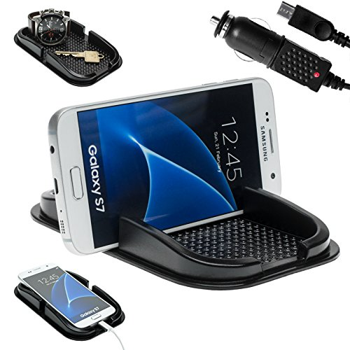 mobilefox® KFZ Anti-Rutsch Matte integr. Handy Halterung + Ladekabel Set für Samsung Galaxy J1 J3 J5 J6 J7 - Rutschfestes Auto Halter Pad