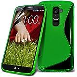 LG G2 D802 Green Elegant Premium S-Linie Wellen-Gel-Kasten-Haut-Abdeckung mit LCD-Display Schutzfolie, Reinigungstuch by Spyrox