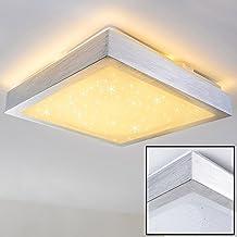 Plafoniera Bagno con LED Integrato Sora – Lampada da Soffitto Quadrata con Paralume Decorato – Lampadario Design con Indice di Protezione IP44 adatto per Bagno e Ambienti Umidi