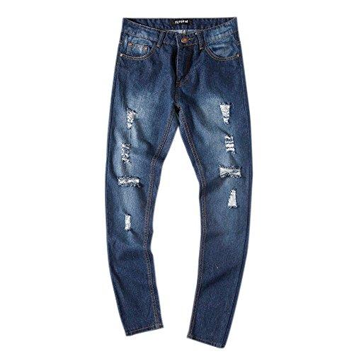 LUVERSCO Herren Schlank Passen Gerade Denim Jahrgang Stil Mit Gebrochen Löcher Jeans Hose (Blau, L) (Haggar Denim Hose)