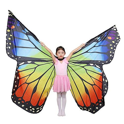 Dance Fairy Bauchtanz Schmetterlings Engel Isis Flügel mit Stöcken,Regenbogen Kind (Nicht einschließlich andere (Flügel Regenbogen Erwachsenen Die)