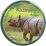 Toshakhana 1302 Button Pin Badge Cum Fridge Magnet Kaziranga Assam India Souvenir