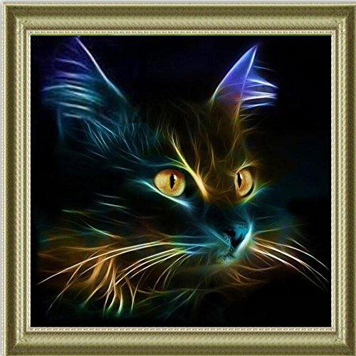 5D DIY Diamond Painting Kit, Blue Cat Rhinestone Broderie Cross Stitch Arts Craft pour décoration intérieure 11,8 * 11,8 pouces (30 * 30cm)