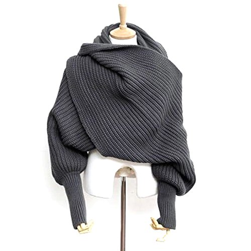 Foxnovo Mode koreanischen Stil Herbst Winter Unisex gestrickter Schal Cape Schal mit Ärmeln (dunkelgrau) (Schal Wolle Stil)